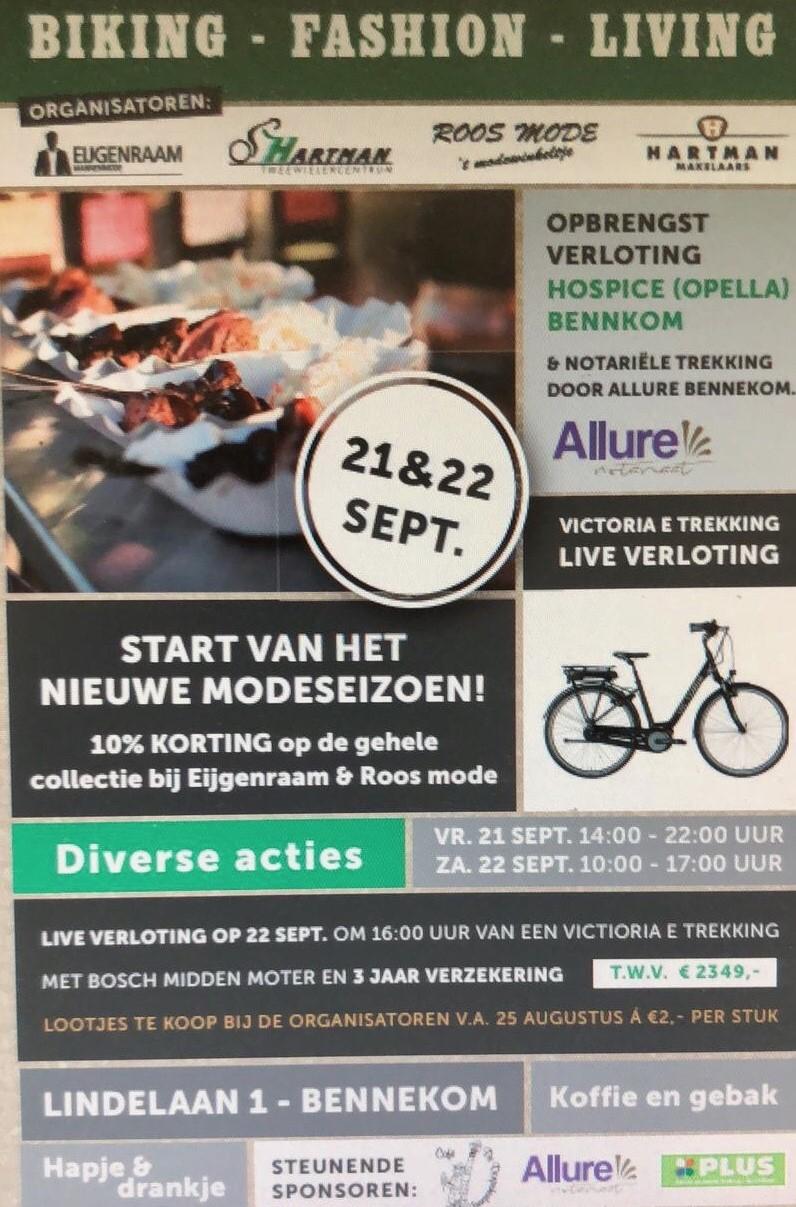 ACTIE ! Geef u ons een opdracht voor taxatie en/of verkoop uiterlijk zaterdag 22-09-2018 15:00 uur en ontvang gratis loten voor een kans op het winnen van een elektrische fiets. Alle opbrengsten gaan naar Hospice Bennekom.