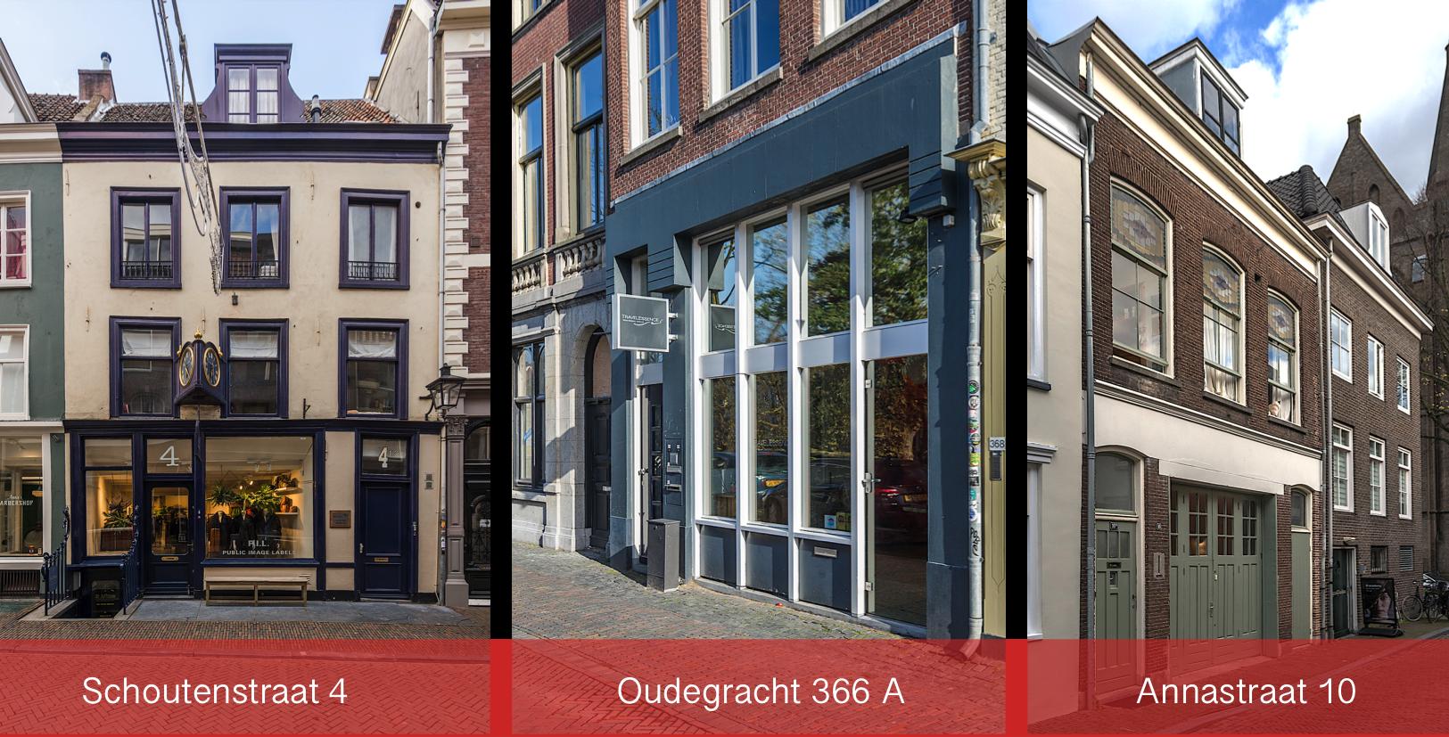 Schoutenstraat, Annastraat, Oudegracht Utrecht, verkoop, winkelpanden, JB Retail