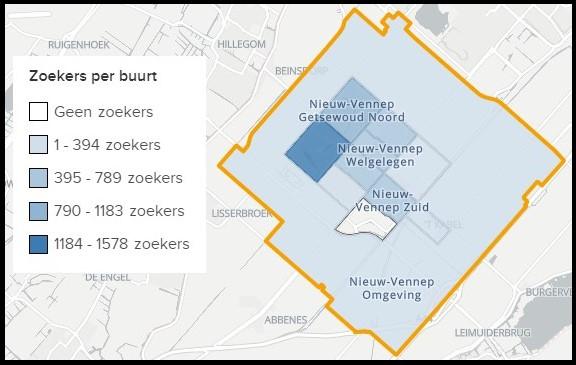 Populariteit wijken in Nieuw-Vennep
